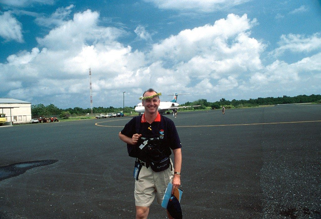 Command Chief Barry blending in with the local culture on the tarmac at FSM