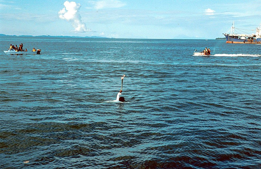 The torchbearer jumped of the canoe and swam the last 100m to shore! Totally unexpected 9and frowned upon) - so I only have this low quality film scan of the moment